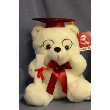 """11.5"""" White Graduation Bear with Red Details"""