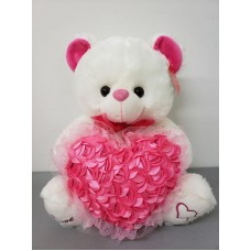 "14"" Bear w/ rose heart pillow"