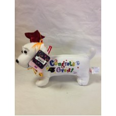 """12"""" Graduation Dog with Pen-Red Hat"""