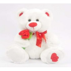 "10"" RED ROSE WHITE TEDDY BEAR"