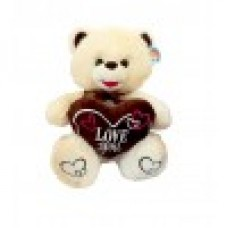 """10"""" Ivory Bear with Brown Love Heart"""
