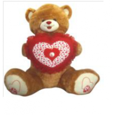 "60"" LOVE BROWN JUMBO BEAR W/FAN PILLOW"
