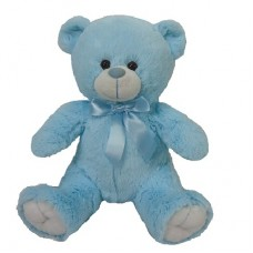 "12"" Blue Bear with bow"