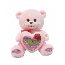 """12"""" Pink Bear with Rose in Heart"""