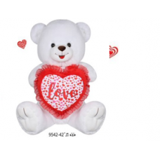 "42"" WHITE BEAR WITH LOVE HEART PILLOW"