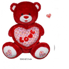 "60"" RED BEAR WITH HEART"