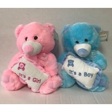 "11"" Blue Baby Bear with Pillow"