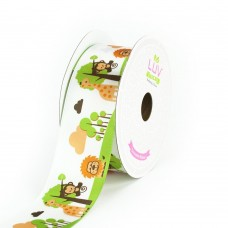 "1 1/2"" Satin Jungle Theme Ribbon ""WHITE"""