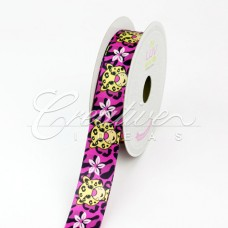 "7/8"" Satin Aloha Leopard Printed Ribbon (Hot Pink)"