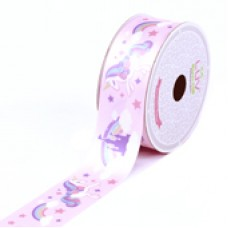 "1 1/2"" Satin Dreamy Unicorn Ribbon ""PINK"""