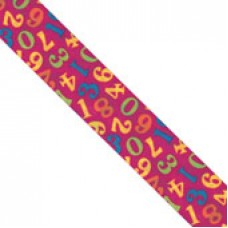 "1 1/2"" Double Face Satin Numeric Print Ribbon ""HOT PINK"""