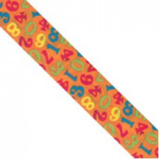 "1 1/2"" Double Face Satin Numeric Print Ribbon  ""ORANGE"""