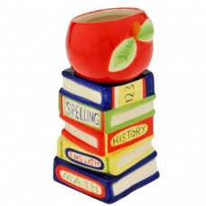 "8"" APPLE/ BOOKS CERAMIC VASE"