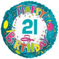 "18"" Age Related 21 Birthday Mylar Balloon"