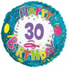 "18"" Age Related 30 Birthday Mylar Balloon"