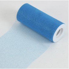 """6"""" x 25 YDS Glitter Tulle Roll- Turquoise"""