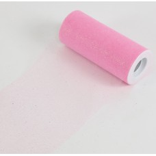 """6"""" x 25 YDS Glitter Tulle Roll- PINK"""