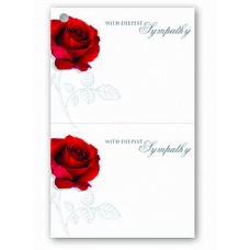 Deluxe Duplicate Sympathy Card- Red Rose Design