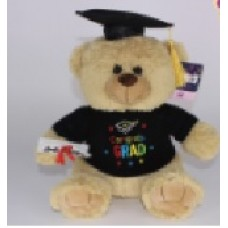 "12"" Light Brown Graduation Bear ""Black"""