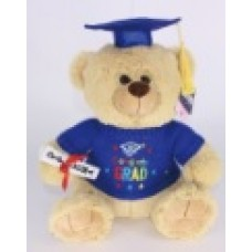 "12"" Light Brown Graduation Bear ""Blue"""