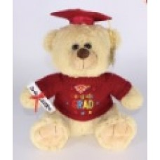 "12"" Light Brown Graduation Bear ""Red"""