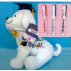 "10.5"" Graduation Dog with Pen ""Blue Hat"""