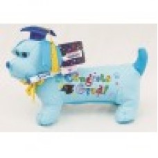 "12"" Blue Grad Dog with Pen"