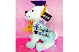 "16"" Graduation Dog with Pen ""Blue Hat"""