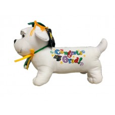 """12"""" Graduation Dog with Pen-Green Hat"""