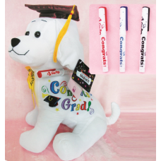 "10.5"" Graduation Dog with Pen ""Burgundy"""