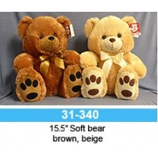 "15.5"" Soft Brown Bear With Bow and Paws"