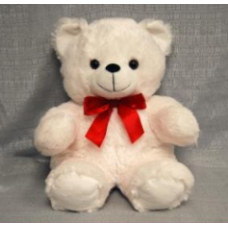 "15"" White Bear with Red Bow"
