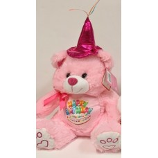 "12"" Birthday Musical Bear Pink"