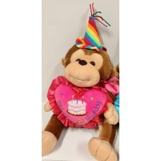 "12"" Happy Birthday Monkey Pink"