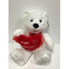 "15"" White Bear with Happy Valentine's Day Heart"