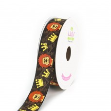 """7/8"""" Grosgrain Printed Ribbon """"Lion With Crown and Leaves""""  (Brown)"""