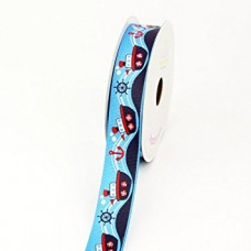"7/8"" Grosgrain Printed Ribbon ""Sailing Boat""  (Blue)"