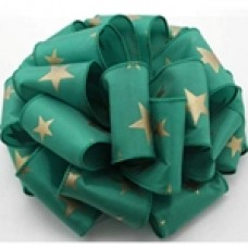 "2.5"" Star Spirit Ribbon ""Emerald Green / Gold"""