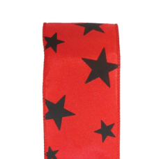 "2.5"" Star Spirit Ribbon ""Red / Black"""