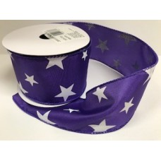 "2.5"" Star Spirit Ribbon ""Purple / White"""