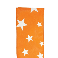 "2.5"" Star Spirit Ribbon ""Orange / White"""