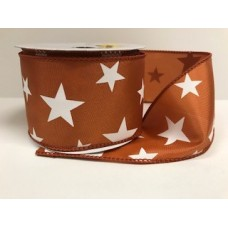 "2.5"" Star Spirit Ribbon ""Burnt Orange / White"""