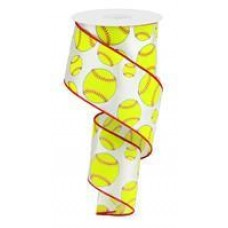 "2.5"" Softball Ribbon ""White / Neon / Yellow / Red"""