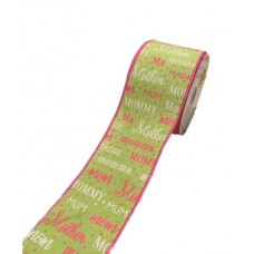 """2.5"""" x 10Y Wired Mothers Day Ribbon- Green"""