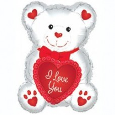"20"" I Love You Red & White Teddy Bear Mylar Balloon"